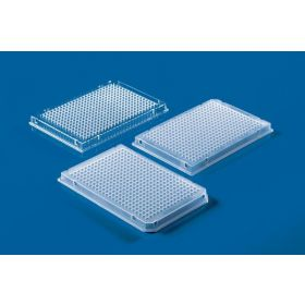 PCR-384-well plate, PP, clear, skirted, 2x cut corner marking