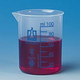 Beaker low form Plastibrand, PP 150ml - blue graduation