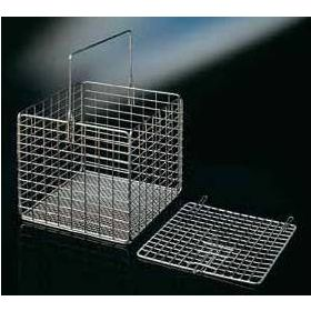 inox basket, square, 210x210x180mm, with handle