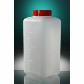 Square bottle HDPE 2000ml + sticker, red screw cap with seal