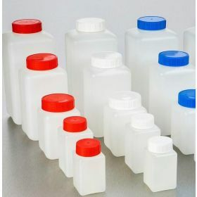 Square bottle HDPE 250ml, blue screw cap with seal