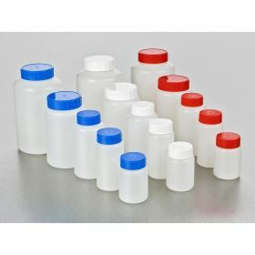 Round bottle HDPE 100ml, blue screw cap and seal