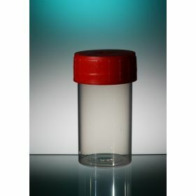 Container TP35 60ml PP red screw cap, aseptic