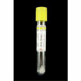 Urine tube round bottom 9ml yellow stopper, vacuum, with boric acid