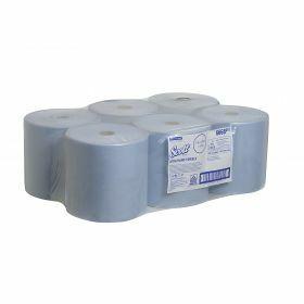 Scott roll hand towels,304mx20cm, blue,1ply