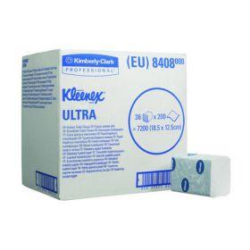 Kleenex Ultra toilet tissue, folded, white, 2-ply, 18.6 x12.5cm