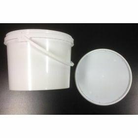 Bucket 3L PP white +plastic grip +LID