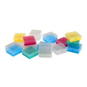 Cryobox in PP, alphanumeric, 9x9 holes, yellow