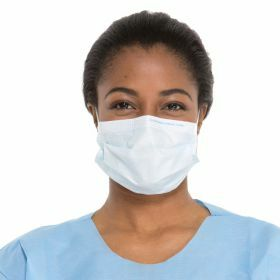 Surgical face mask pleated, white (18 cm) + earloops