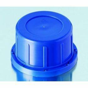Tamper-evident screw cap, blue, PP, GL60, for wide neck square glass bottles