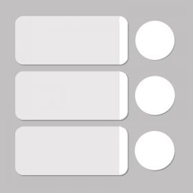 Label white/white round D11mm + rectangle 33x13mm 500pcs