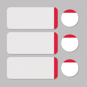 Label white/red round D11mm + rectangle 33x13mm - 500pcs