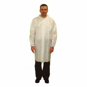 Labcoat PE/non-woven M/L without pockets + snap buttons