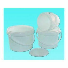 bucket 3L PP white + plast.handle + hermetic lid
