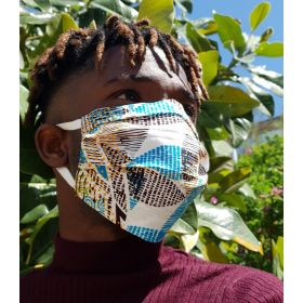 Fabric face mask - DEPESKIDOU floral - adult - tie