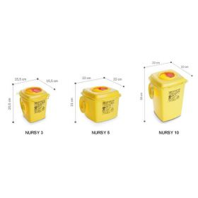 Sharps containers AP Medical Nursy line, square, yellow/red