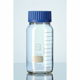 Duran® Wide mouth glass bottle with blue PP crew-cap GLS80