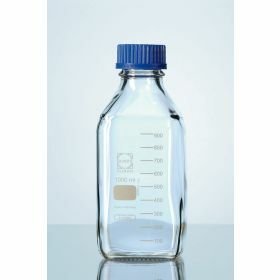 Square Laboratory Bottles Duran® , with blue PP screw cap and pouring ring