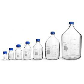 Laboratory bottles with blue PP screw cap