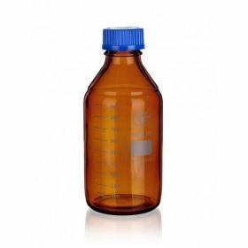 SIMAX Laboratory amber bottle with blue PP cap and GL45 thread