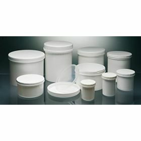 jars in white PP or transparant PS, with screw cap (white or ivory), wit or without sealing cap